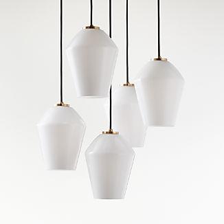 Arren Brass Round 5-Light Pendant with Milk Angled Shades