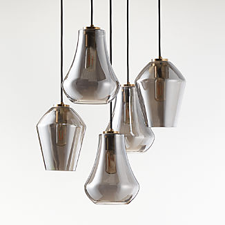 Arren Brass Round 5-Light Pendant with Silver Mixed Shades
