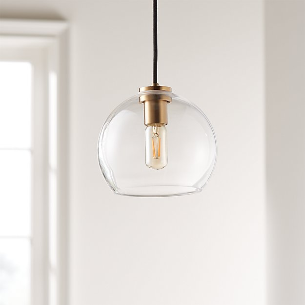 Arren Brass Single Pendant with Clear Round Shade - Image 1 of 6