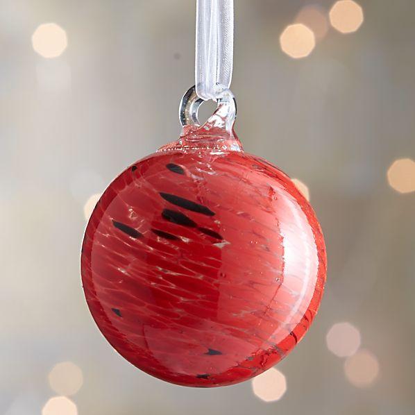 Red Art Glass Ball Ornament