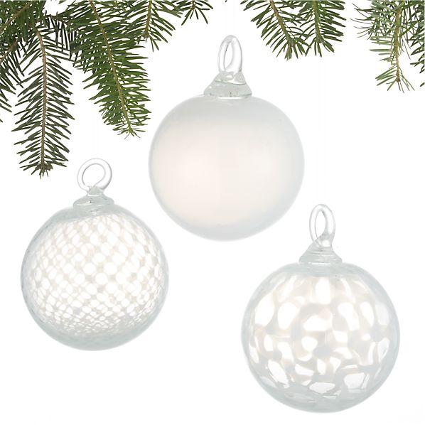 Set of 3 Art Glass White Ball Ornaments