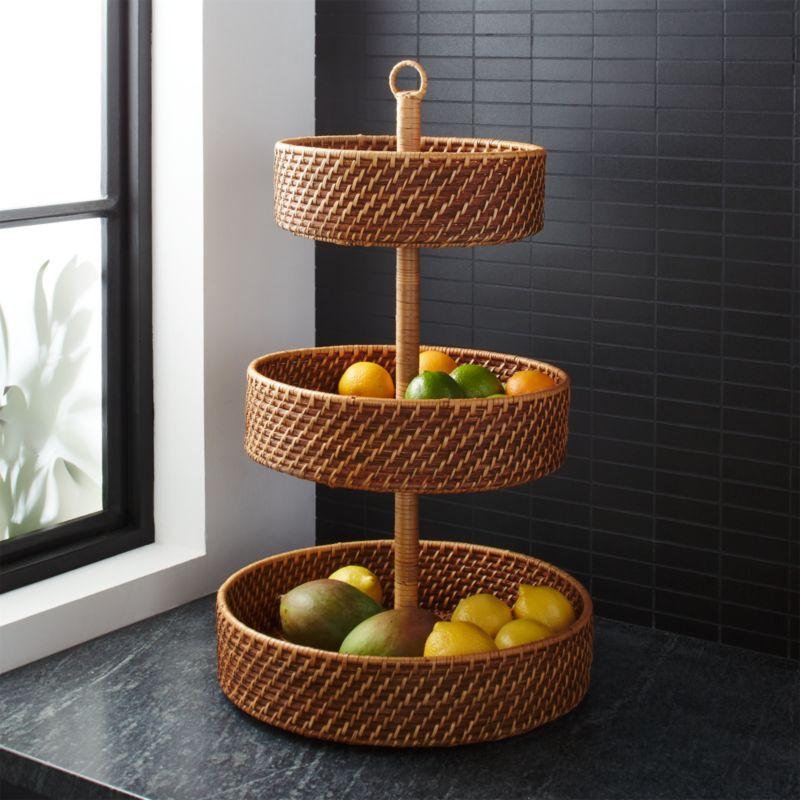 Artesia Honey 3 Tier Fruit Basket Reviews Crate And Barrel