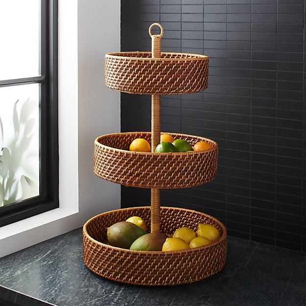 Artesia Honey 3-Tier Fruit Basket - Image 1 of 4