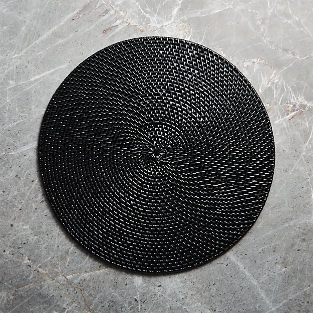 Artesia  Black Round Placemat - Image 1 of 7