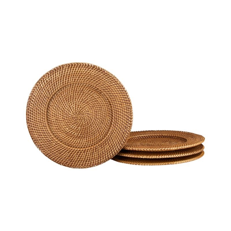 A honey brown finish warms these handcrafted rattan charger-platters. Each is made with a fine, tight weave for sturdy serving.<br /><br /><NEWTAG/><ul><li>Handwoven rattan</li><li>Honey brown finish</li><li>Foodsafe lacquer finish</li><li>Liner recommended to extend wear</li><li>Clean with a dry cloth</li><li>Made in The Philippines</li></ul><br />