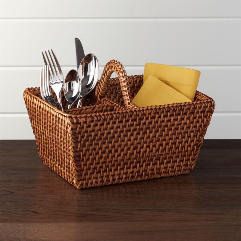 Artesia Honey Rattan Flatware Caddy + Reviews | Crate and Barrel