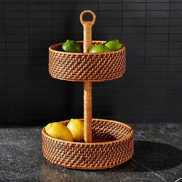 Artesia 2 Tier Rattan Fruit Basket - Image 1 of 4