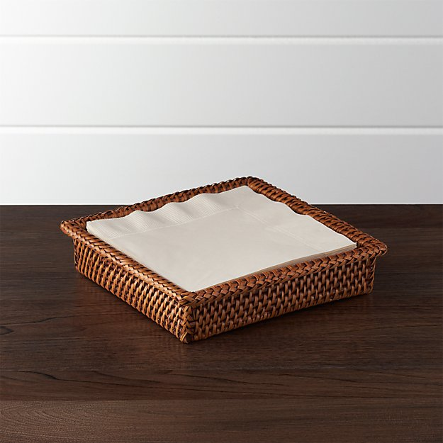 Artesia Honey Rattan Napkin Holder Crate And Barrel
