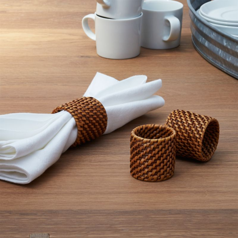 Artesia Honey Rattan Napkin Ring Reviews Crate And Barrel