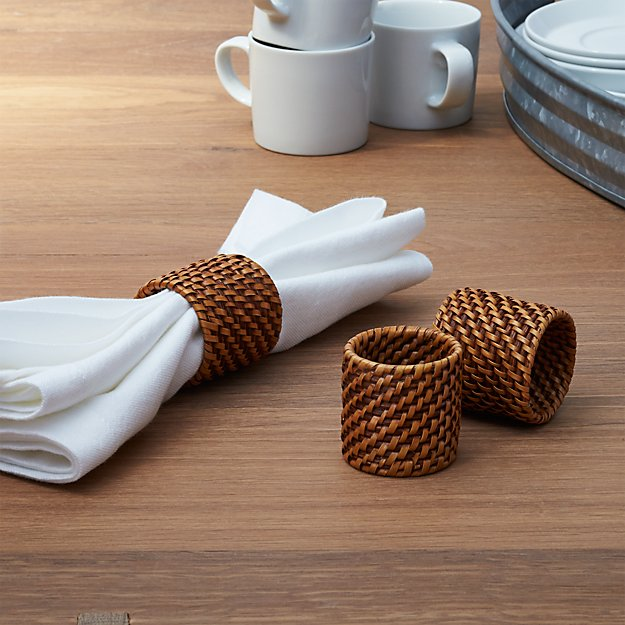 Artesia Honey Rattan Napkin Ring - Image 1 of 8