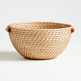 Artesia Natural Rattan Bowl with Handles