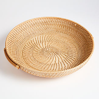 Artesia Natural Round Rattan Tray with Handles