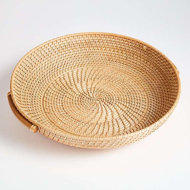 Artesia Natural Round Rattan Tray with Handles - Image 1 of 4