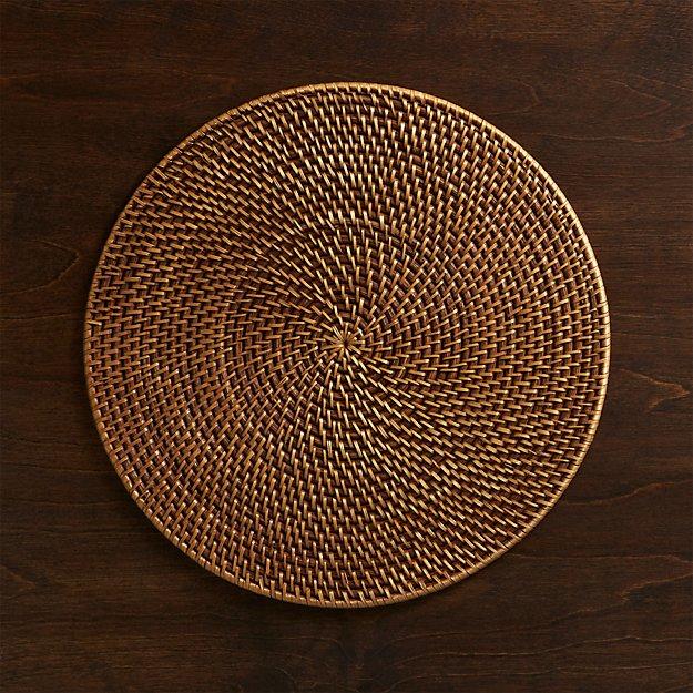 Artesia Round Rattan Honey Placemat - Image 1 of 8