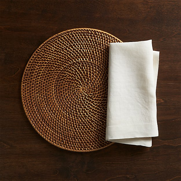 Artesia Round Rattan Honey Placemat and Helena Vanilla Linen Napkin