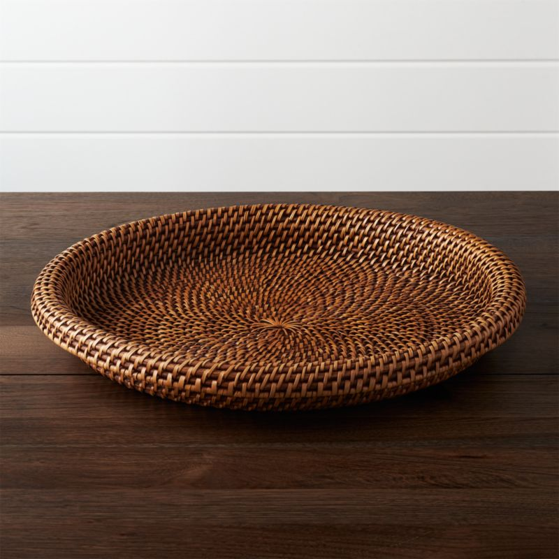 artesia honey rattan serving tray crate and barrel - Decorative Serving Trays