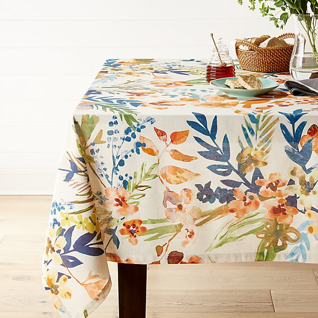 artiste 60 x120 watercolor tablecloth reviews crate and barrel
