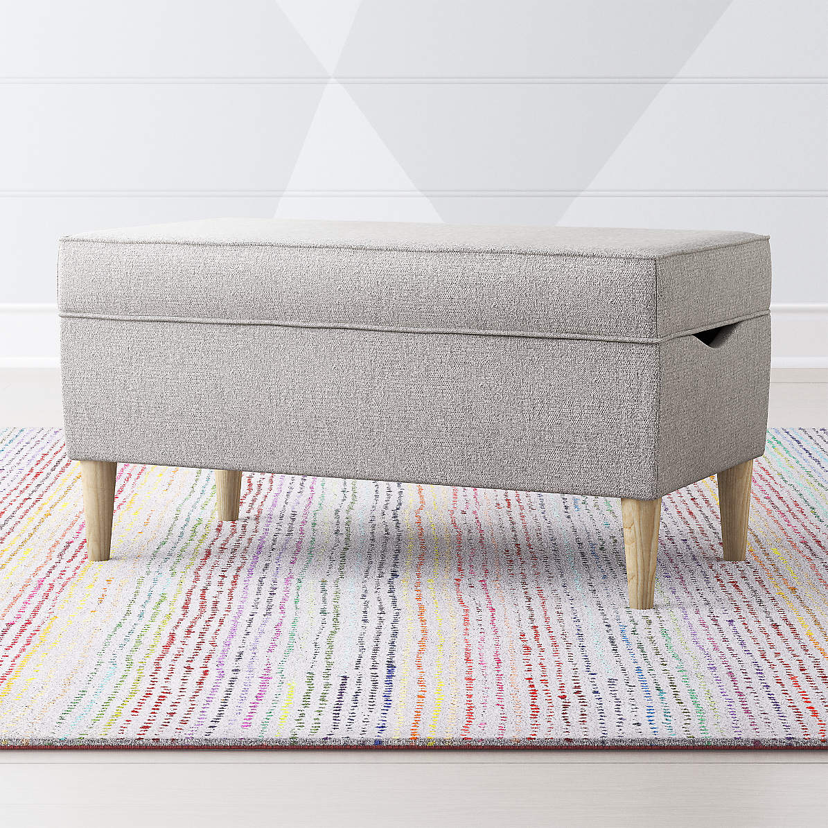 As You Wish Light Grey Upholstered Storage Bench Reviews Crate And Barrel