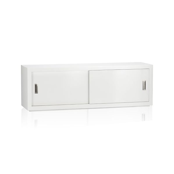 "Ascend White 55"" Sliding Door Storage Unit"