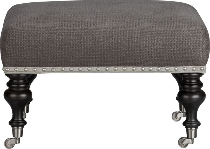 Clubby classic takes a sophisticated turn in tight-seat cushioning upholstered in a smart nubby basketweave with just a hint of luster. Brushed nickel nailheads on contrasting fabric banding and turned legs with washed charcoal wood finish atop brushed nickel casters fashion fresh updates on traditional detailing.<br /><br />After you place your order, we will send a fabric swatch via next day air for your final approval. We will contact you to verify both your receipt and approval of the fabric swatch before finalizing your order.<br /><br /><NEWTAG/><ul><li>Eco-friendly construction</li><li>Certified sustainable, kiln-dried hardwood frame</li><li>Cushion is soy-based polyfoam</li><li> Synthetic webbing suspension</li><li>Upholstered in linen-cotton blend fabric with self-welt detail</li><li>Brushed nickel nailheads and casters</li><li>Benchmade</li><li>See additional frame options below</li></ul>