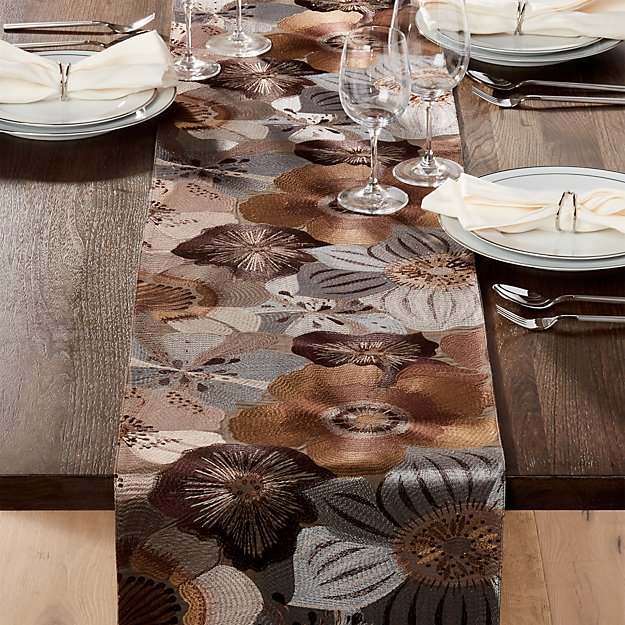 Ashlyn embroidered 120 table runner crate and barrel for 120 table runners