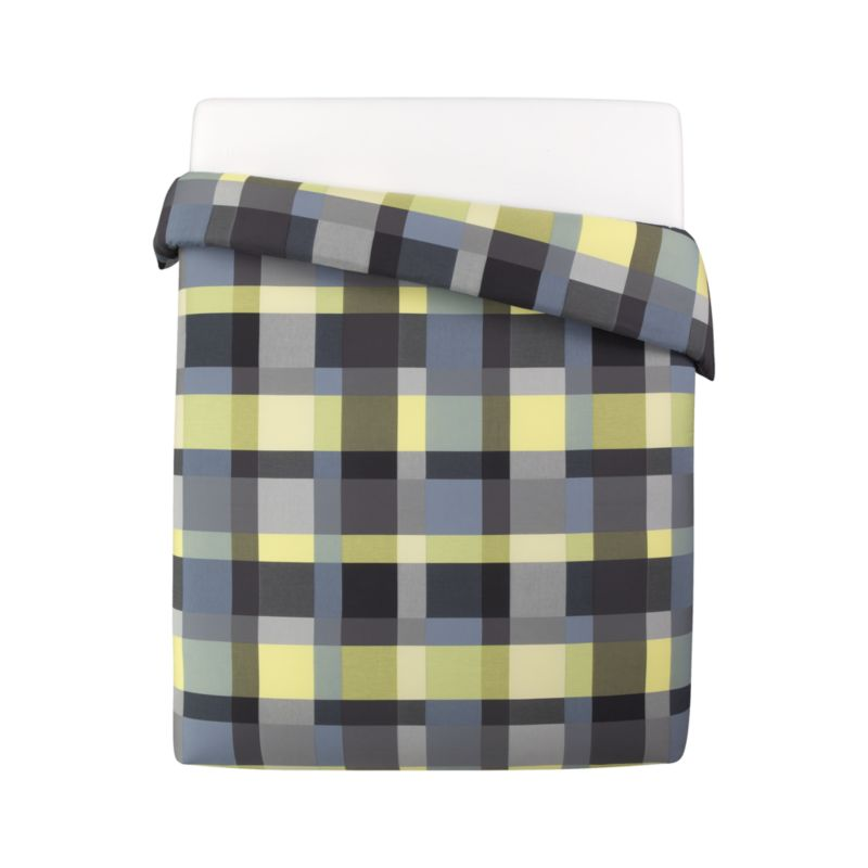 Updated plaid checks out bold and graphic in contemporary palette of tonal yellow, grey and green. Reversible duvet cover has hidden button closure and interior ties to stabilize duvet insert. Duvet inserts also available.<br /><br /><NEWTAG/><ul><li>100% cotton</li><li>200-thread-count</li><li>Machine wash cold</li><li>Made in Portugal</li></ul>