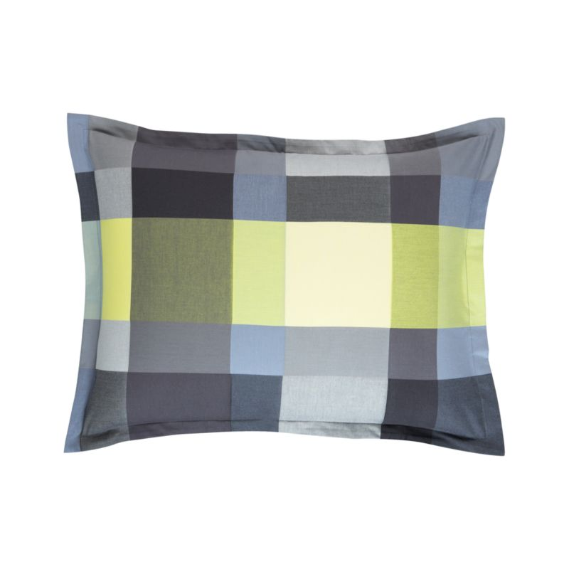 """Updated plaid checks out bold and graphic in contemporary palette of tonal yellow, grey and green. Shams have a 1"""" flange and overlapping closures on the reverse. Bed pillows also available.<br /><br /><NEWTAG/><ul><li>100% cotton</li><li>200-thread-count</li><li>Machine wash cold</li><li>Made in Portugal</li></ul>"""