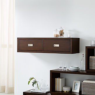 """Aspect Coffee 47.5"""" Floating Cube Shelf with Drawers"""