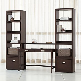 Aspect Coffee Modular Office With 2 File Cabinets