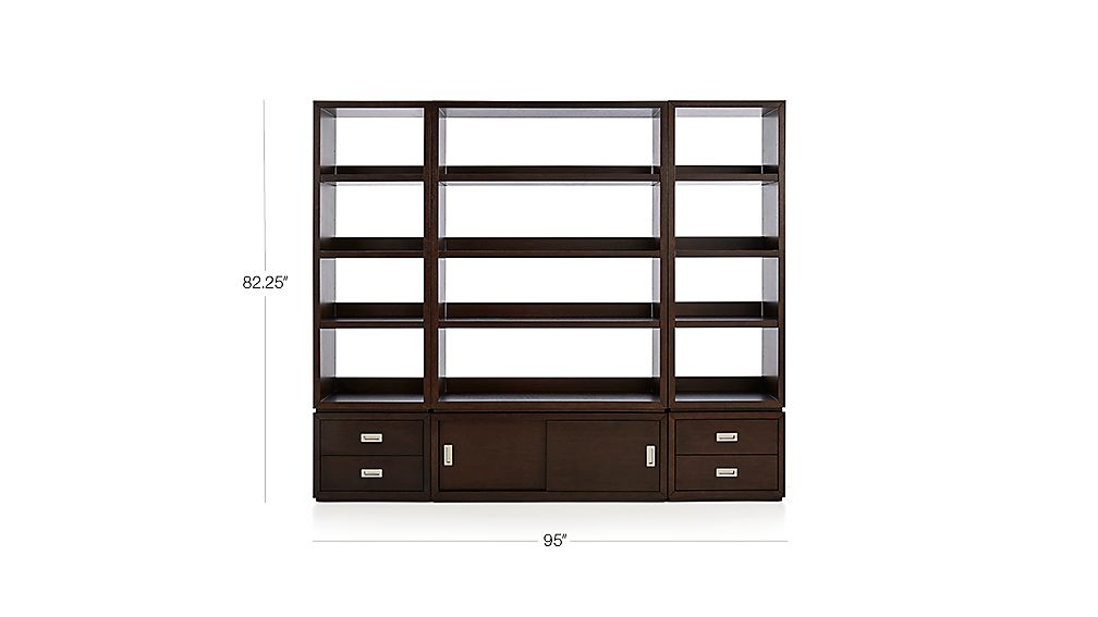 TAP TO ZOOM Image With Dimension For Aspect Coffee 6 Piece Open Storage Unit  With Drawers