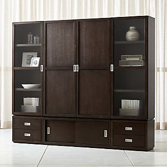 Aspect Coffee 7 Piece Wood And Gl Door Storage Unit