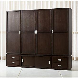 Aspect Coffee 7 Piece Wood Door Storage Unit