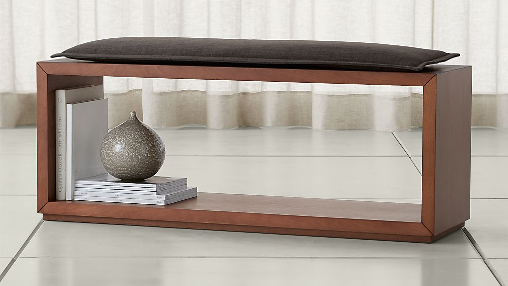 """Aspect Walnut 47.5"""" Open Bench with Cushion - Image 1 of 3"""