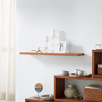 "Aspect Walnut 47.5"" Floating Wall Shelf"