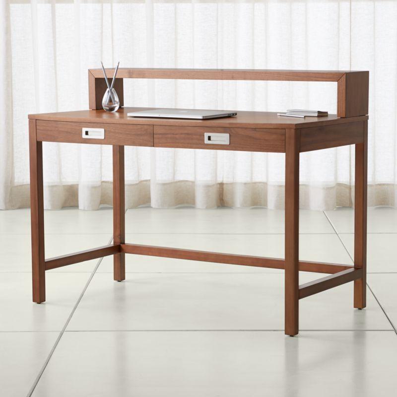 wood writing desks crate and barrel