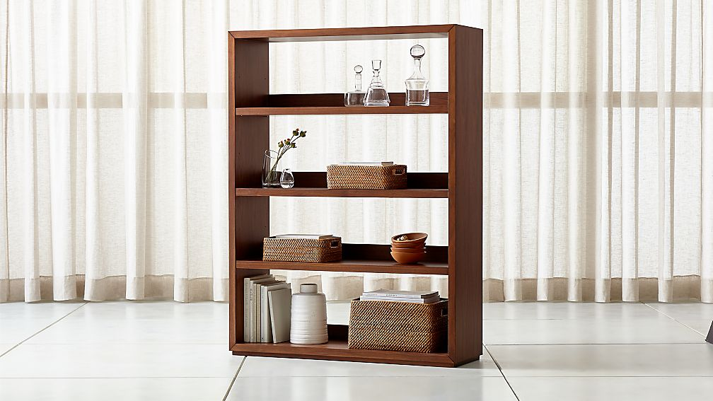 Aspect Walnut Modular Open Double Bookcase - Image 1 of 4