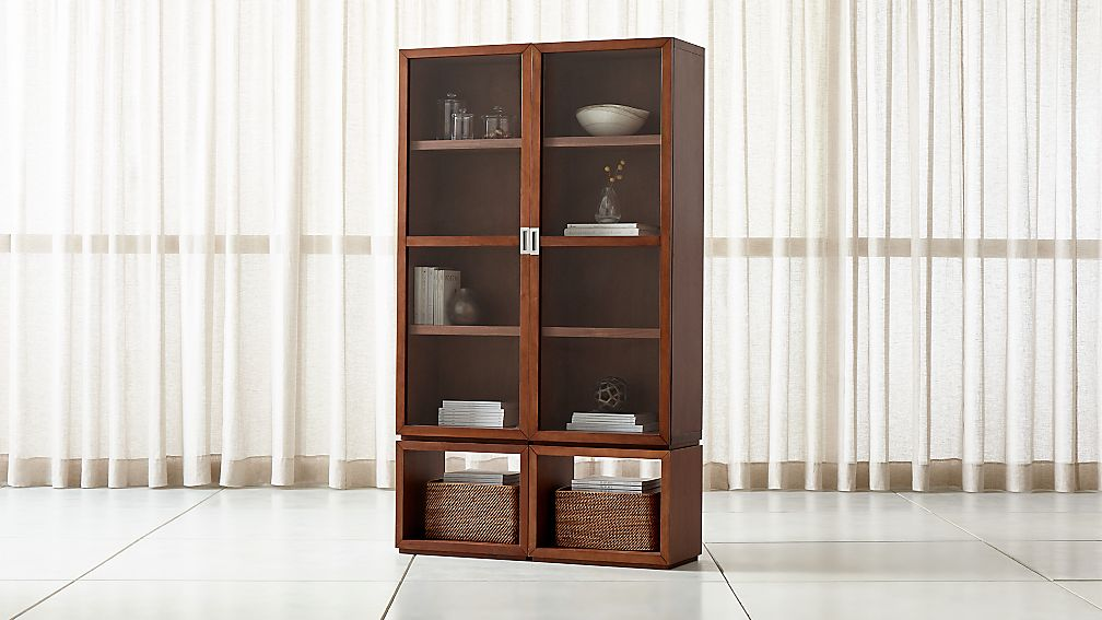 Aspect Walnut 4 Piece Glass Door Storage Unit Reviews Crate And