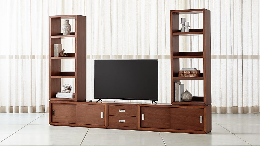 Aspect Walnut Modular Media Center with Drawers - Image 1 of 3