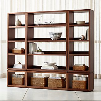 Aspect Walnut 6-Piece Open Storage Unit & Solid Wood Bookcases | Crate and Barrel