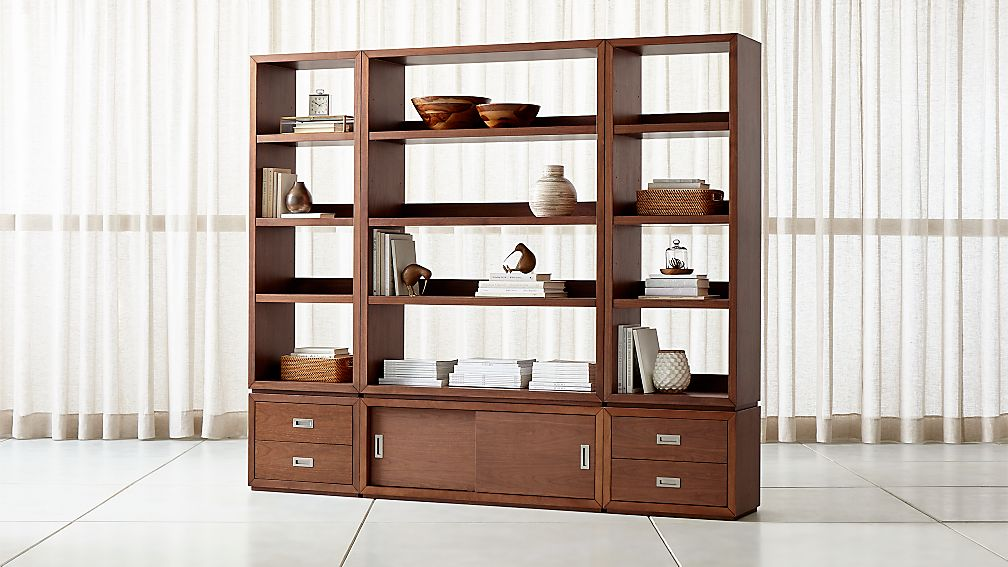Aspect Walnut 6-Piece Open Storage Unit with Drawers - Image 1 of 3