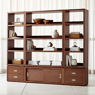 ea269fa06d0 Aspect Walnut 6-Piece Open Storage Unit with Drawers