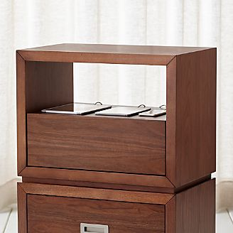 Aspect Walnut 23.75  Modular Open Storage Unit with Charging Station & Filing Cabinets u0026 Credenzas (Find the Perfect One for You) | Crate ...
