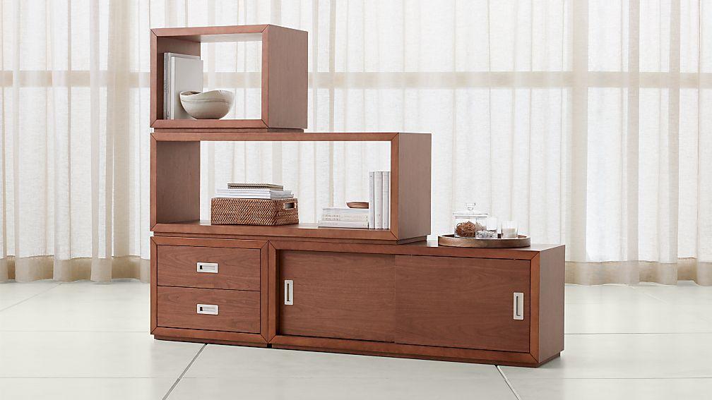 Aspect Walnut 4-Piece Large Modular Storage Set - Image 1 of 3