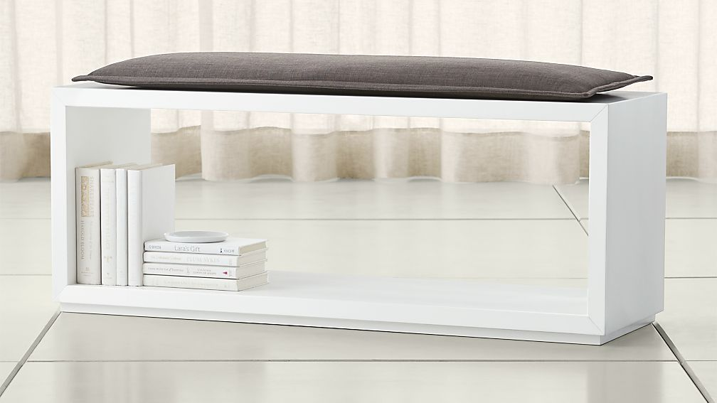 "Aspect White 47.5"" Open Bench with Cushion"