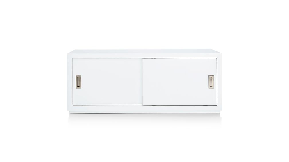 "Aspect White 47.5"" Modular Sliding Door Storage Unit"