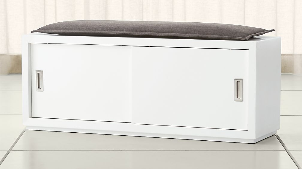"Aspect White 47.5"" Sliding Door Bench with Cushion"
