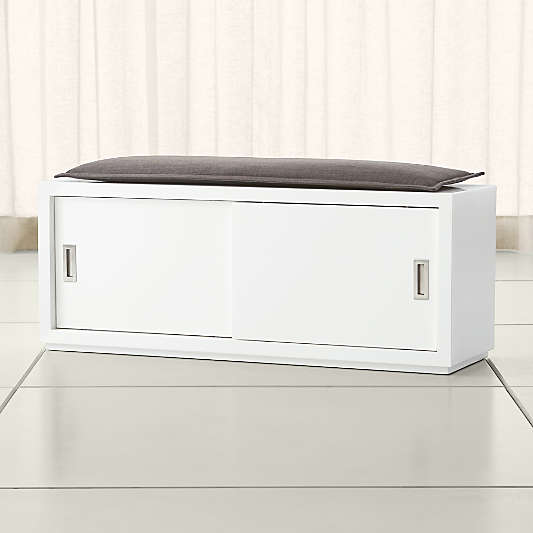 """Aspect White 47.5"""" Sliding Door Bench with Cushion"""