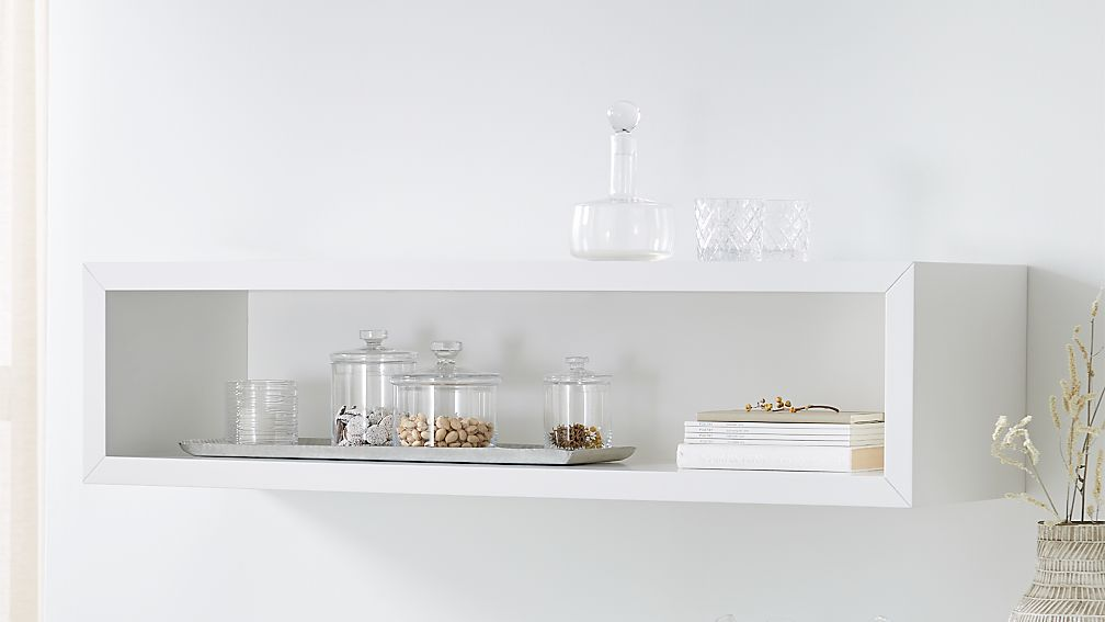 "Aspect White 47.5"" Floating Cube Shelf - Image 1 of 9"