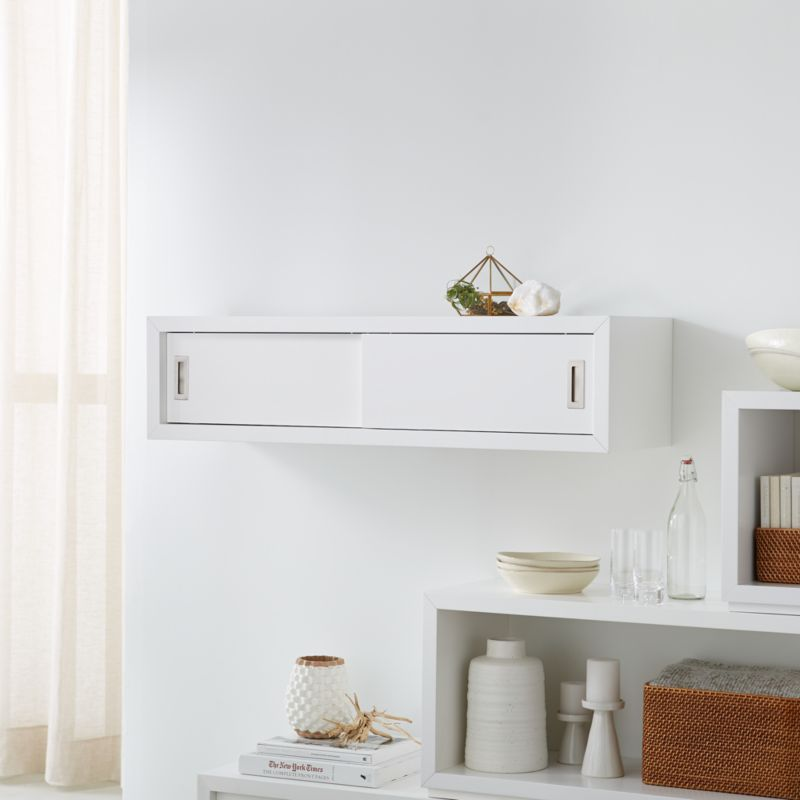 Aspect White 47 5 Quot Floating Cube Shelf With Doors Reviews Crate And Barrel