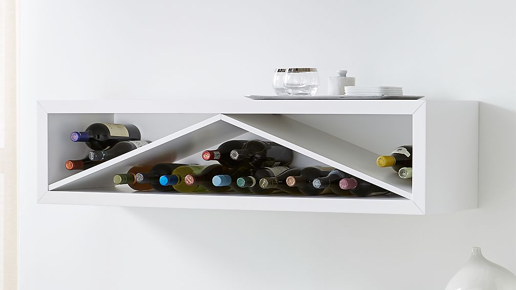 Aspect White 47 5 Floating Cube Shelf Wine Insert Reviews Crate And Barrel